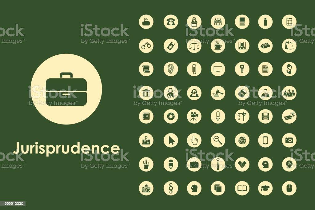 Set of jurisprudence simple icons vector art illustration