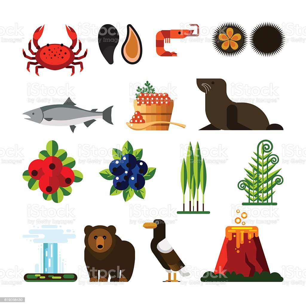 Set of Kamchatka Peninsula: crab,mussel,shrimp,sea urchin, fish vector art illustration