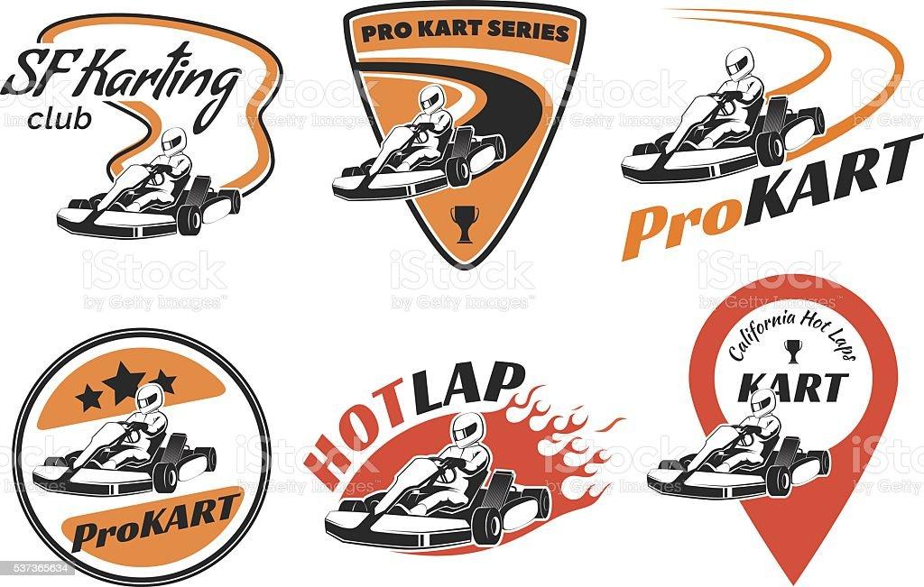 Set of kart racing logo vector art illustration