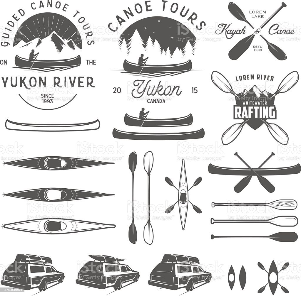 Set of kayak and canoe emblems, badges and design elements vector art illustration
