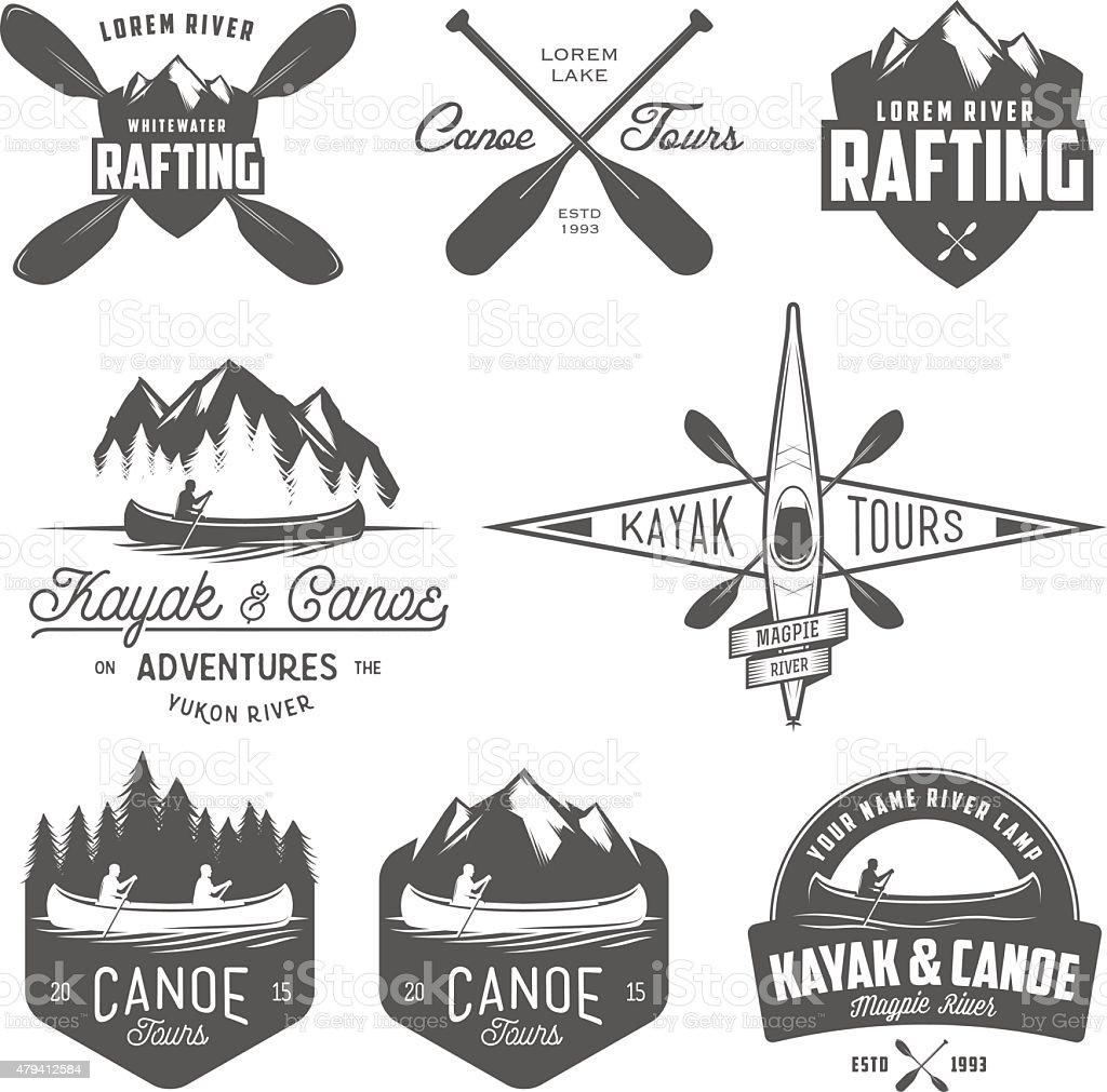 Set of kayak and canoe emblems, badges and design elements vector art illustration