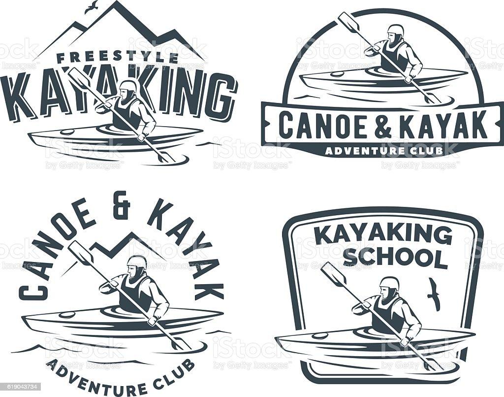 Set of kayak and canoe emblems vector art illustration