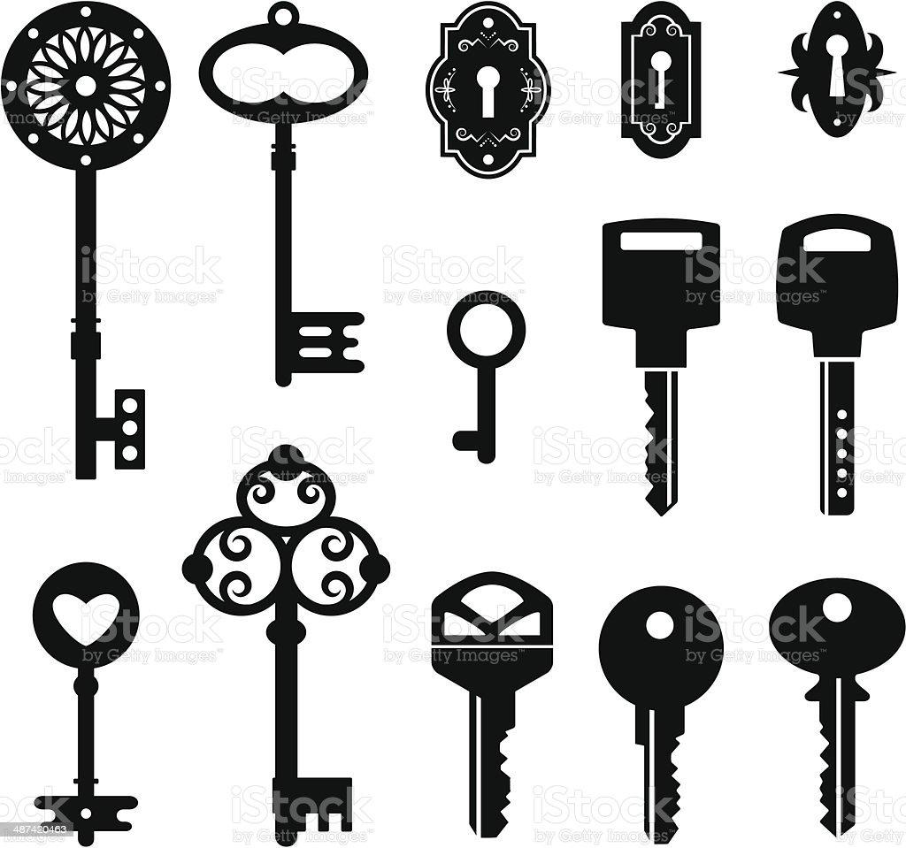 set of keys vector art illustration