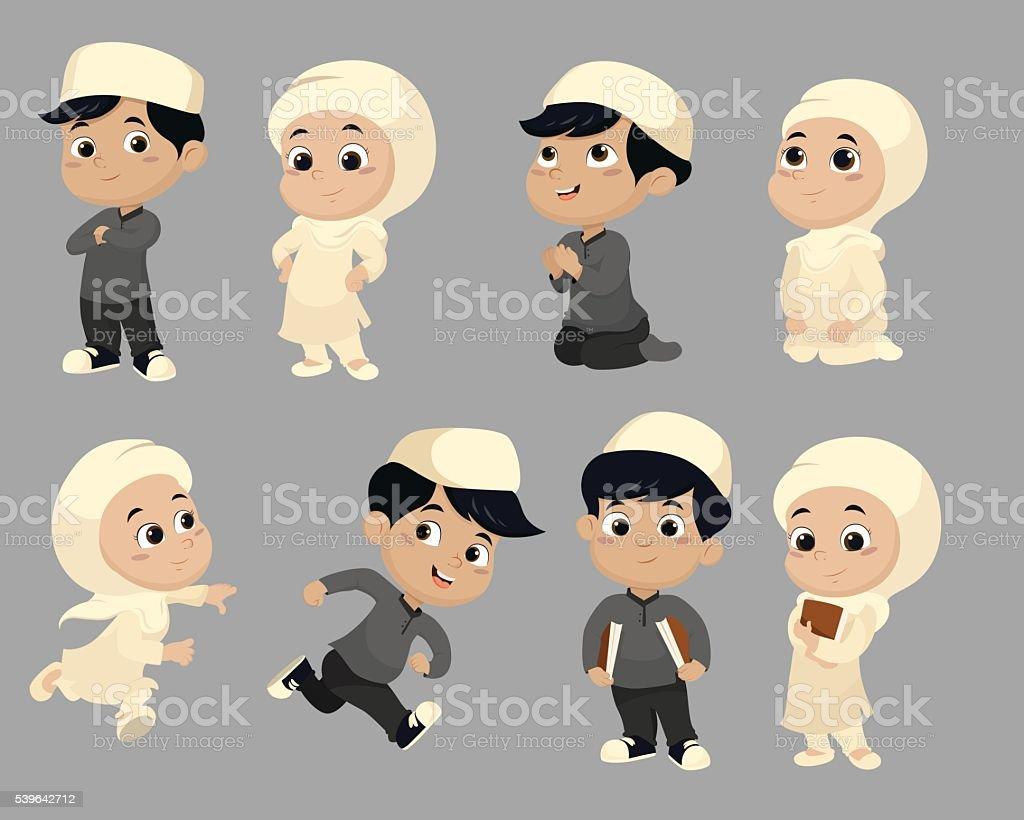 Groupe de personnes de faire des activités pour les enfants musulmane. vector illustratio et stock vecteur libres de droits libre de droits