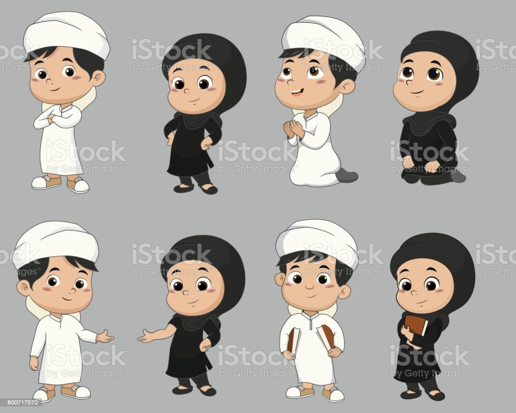 Set of kid muslim people doing activities.vector and illustration. vector art illustration