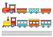 Set of kids cartoon trains.