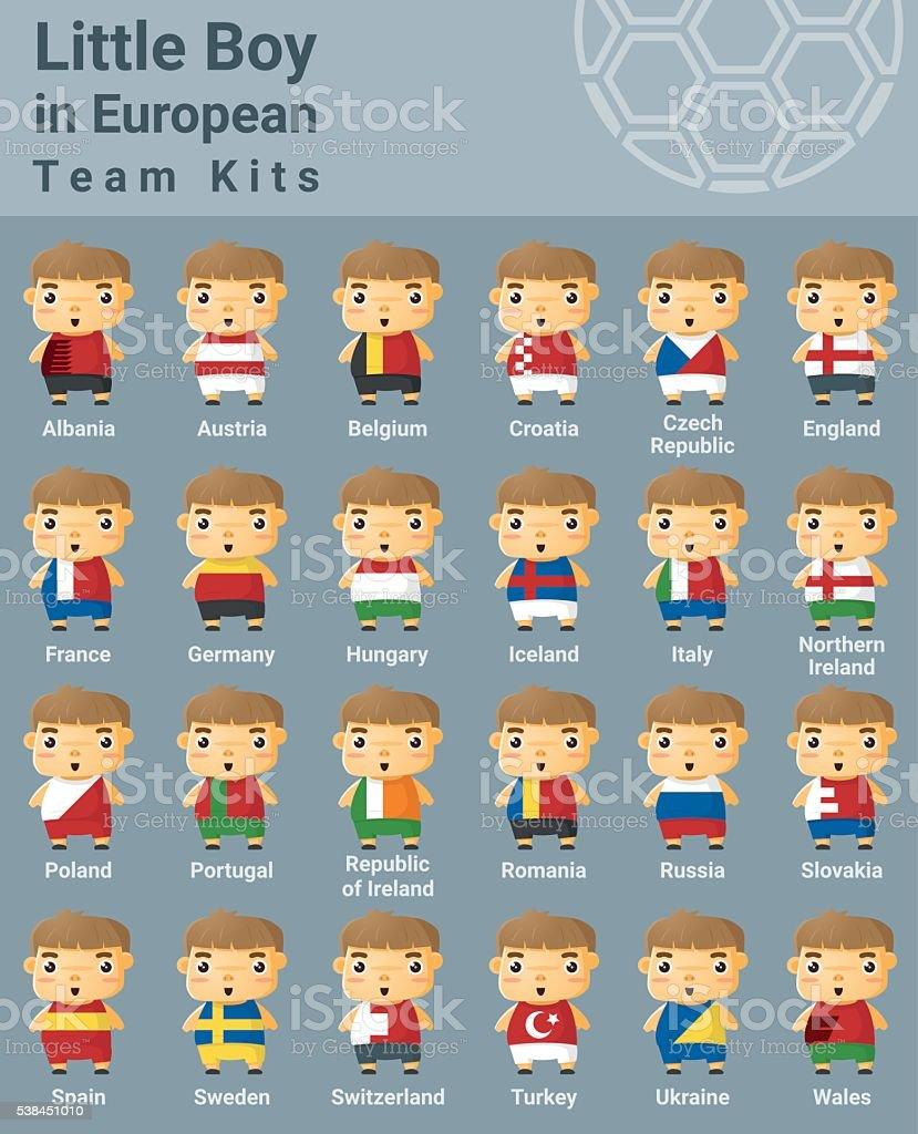 Set of kids in European sport team kits vector art illustration