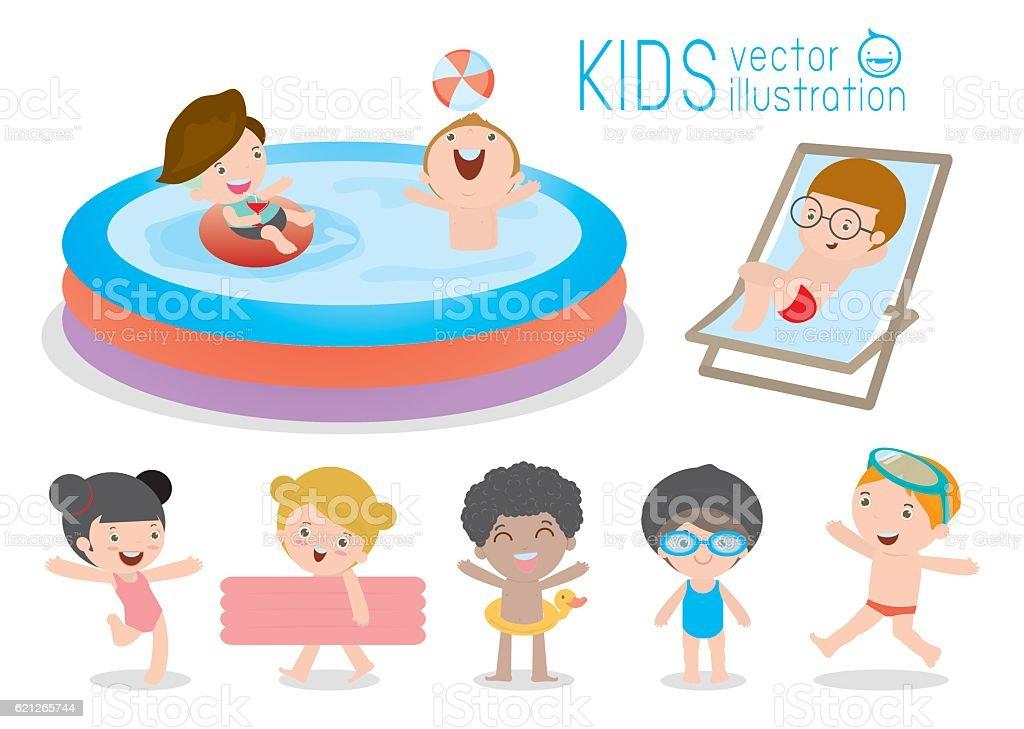 set of Kids in Swimming Pool, children for summer season vector art illustration