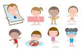 set of Kids in Swimming Pool, children for summer season.