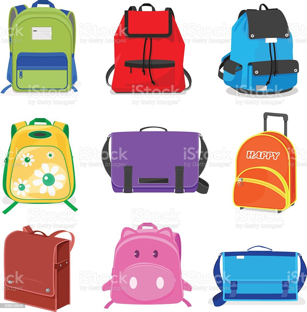 set of kids school bags isolated vector art illustration