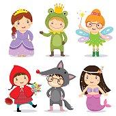 Set of kids wearing in fairy tale theme