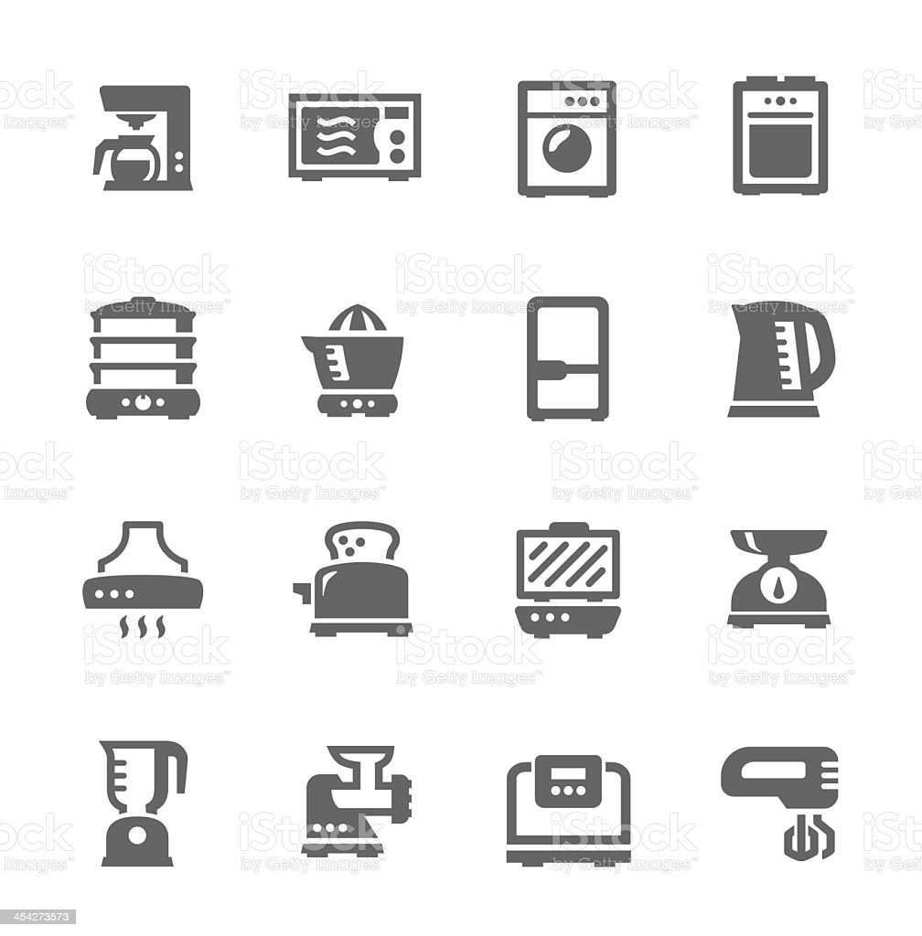 A set of kitchen appliance icons on an off-white background vector art illustration