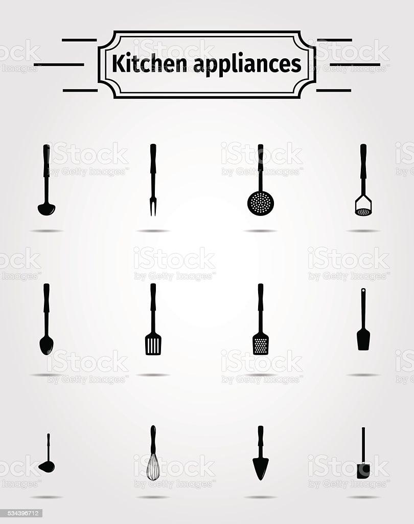 Set of kitchen appliance vector art illustration