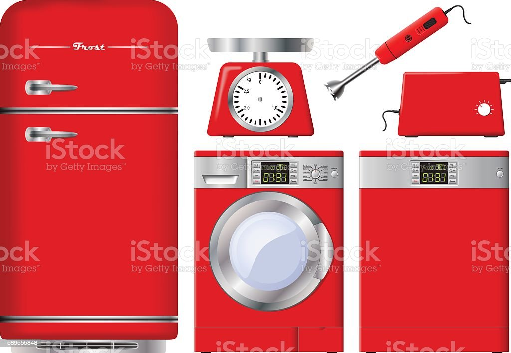 Set of kitchen appliances in red. Realistic vector. vector art illustration