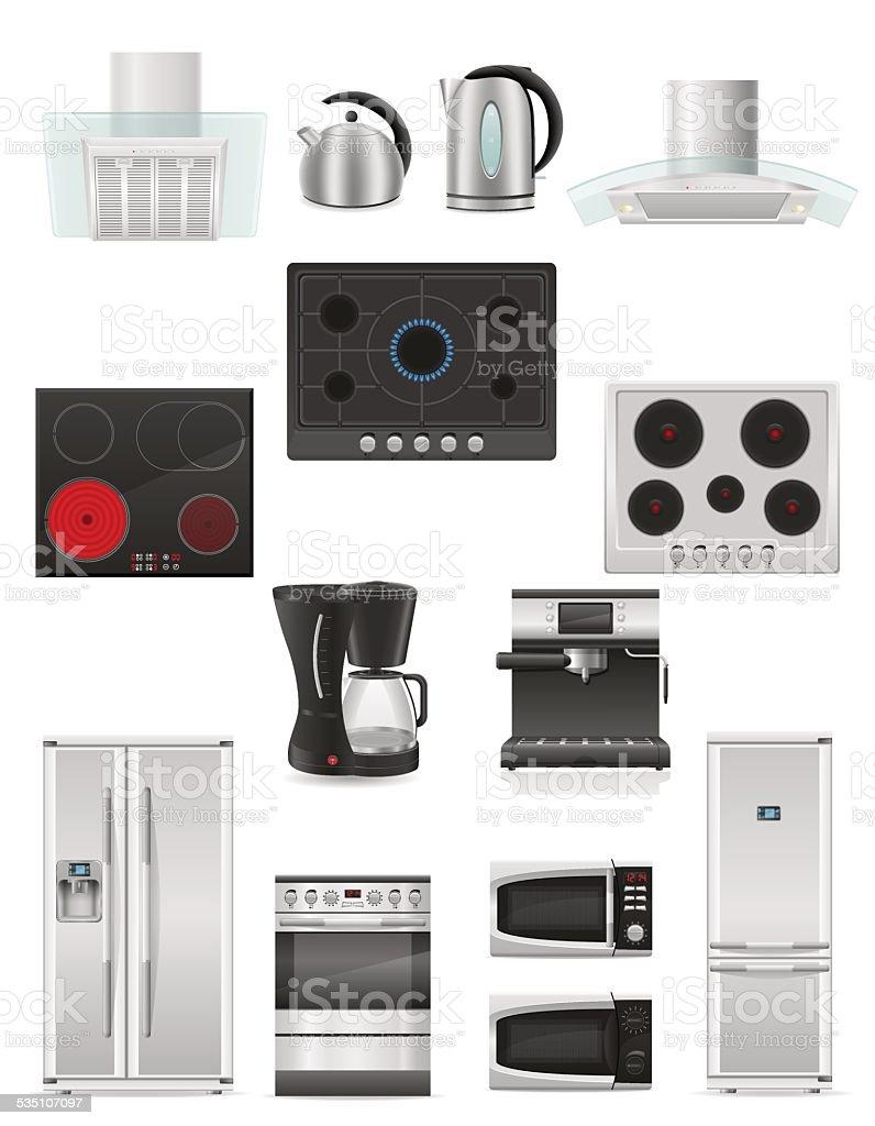 set of kitchen appliances vector illustration vector art illustration