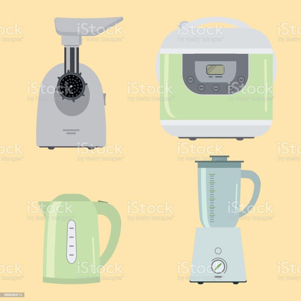 Set of kitchen equipment on a beige background vector art illustration