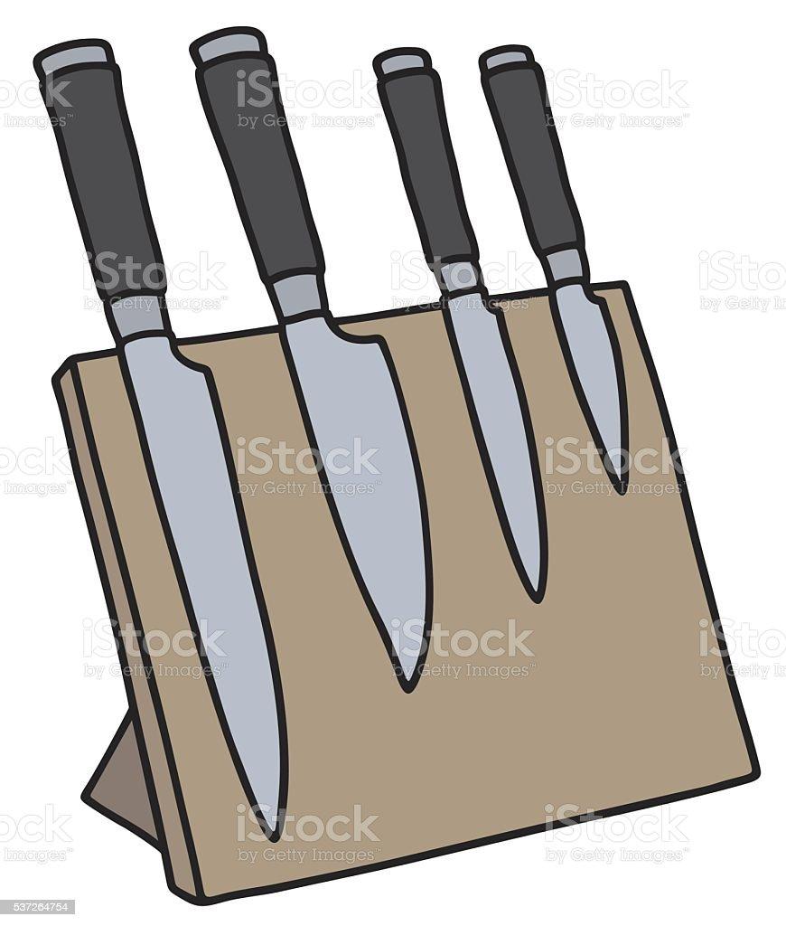 Set of kitchen knives vector art illustration