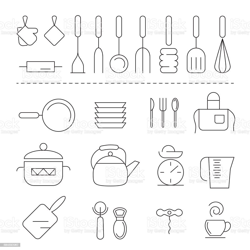 Set of kitchen linear icons vector art illustration