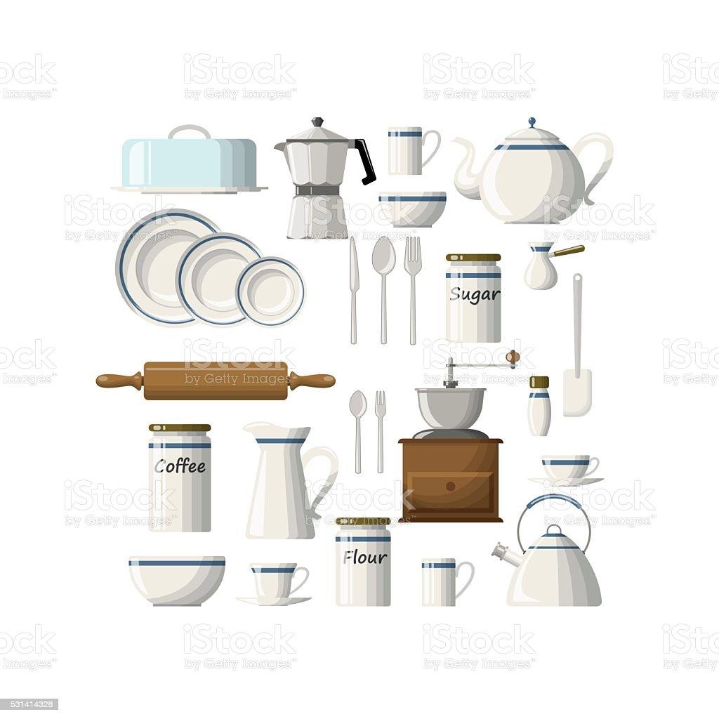 Set of kitchen utensils vector art illustration