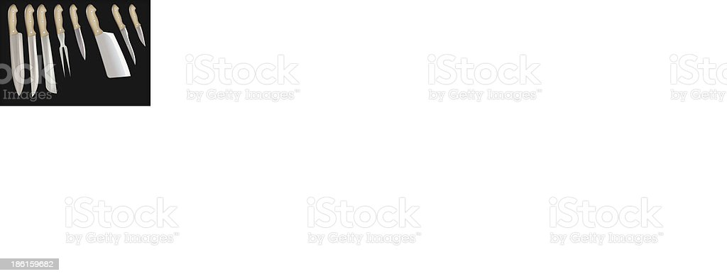 set of knifes isolated on black royalty-free stock vector art