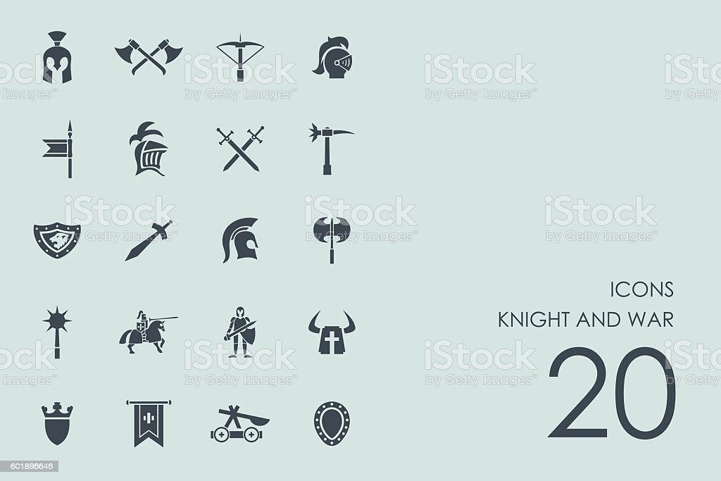 Set of knight and war icons vector art illustration