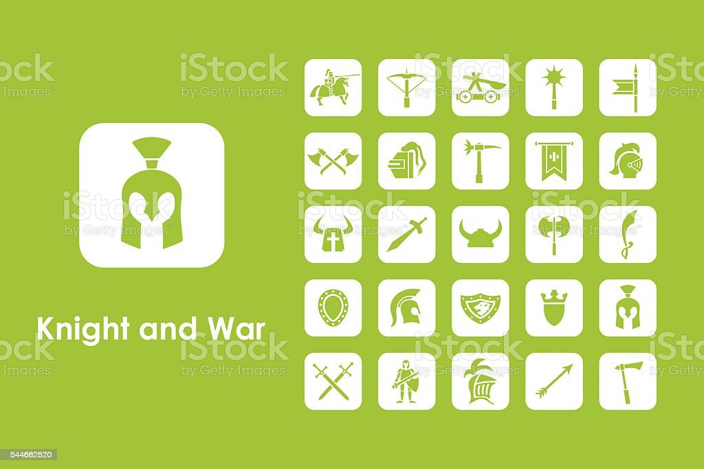Set of knight and war simple icons vector art illustration