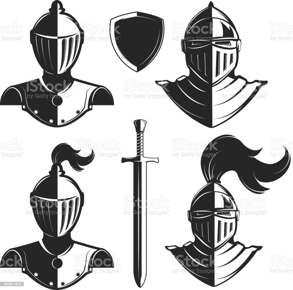 Set of knights helmets isolated on white background. vector art illustration
