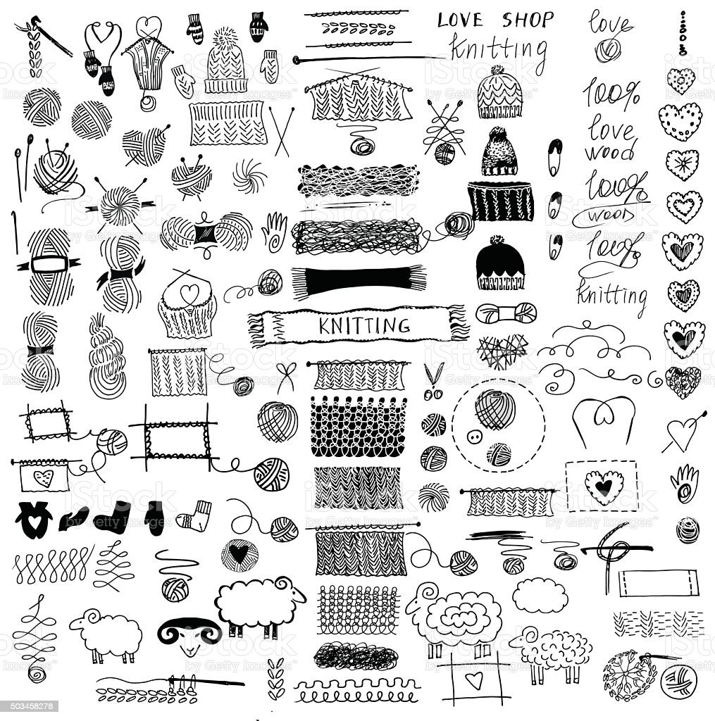 Set of knitting and crafts. vector art illustration