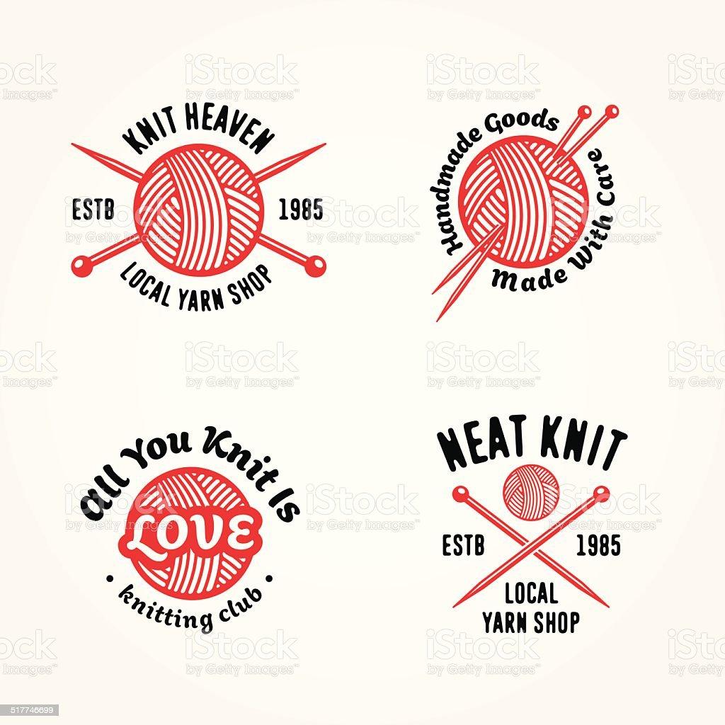 Set of knitting badges vector art illustration