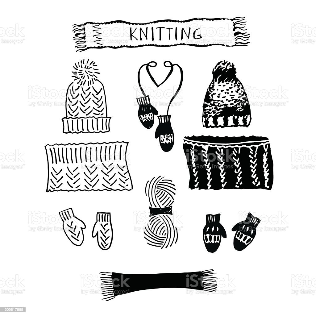 Set of knitting hats and LIC, scarf and mittens. vector art illustration