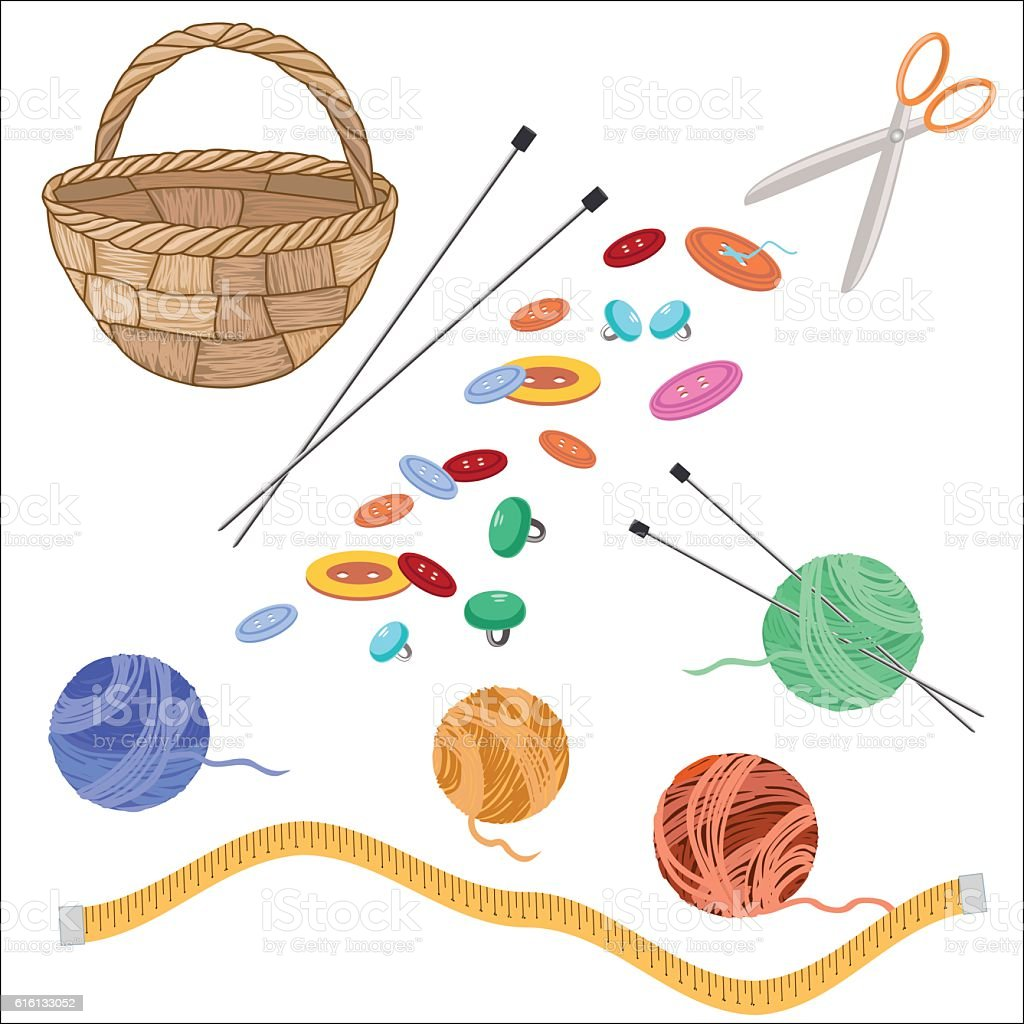 Set of knitting supplies royalty-free stock vector art