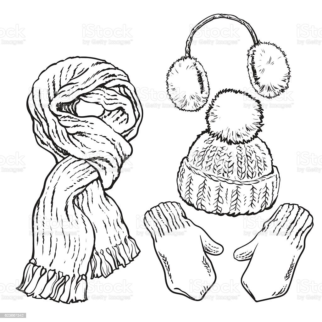 Set of knotted scarf, hat, ear muffs and mittens vector art illustration