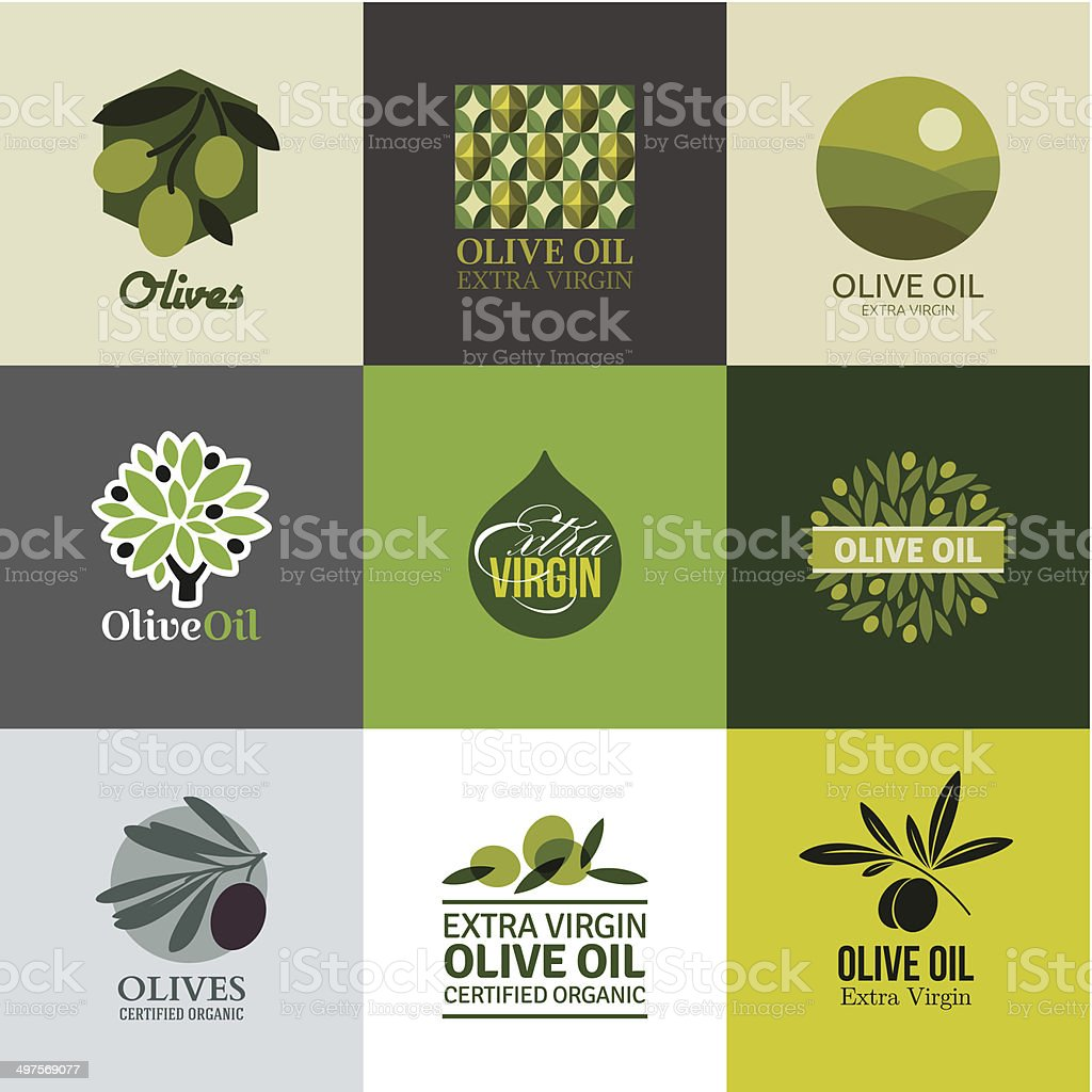 Set of labels and emblems with olive branch vector art illustration