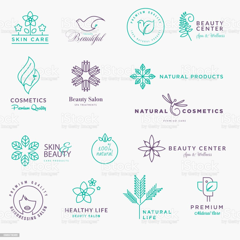 Set of labels and stickers for beauty, natural products, healthcare vector art illustration