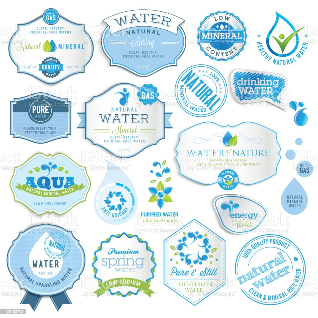 Set of labels and stickers for water vector art illustration