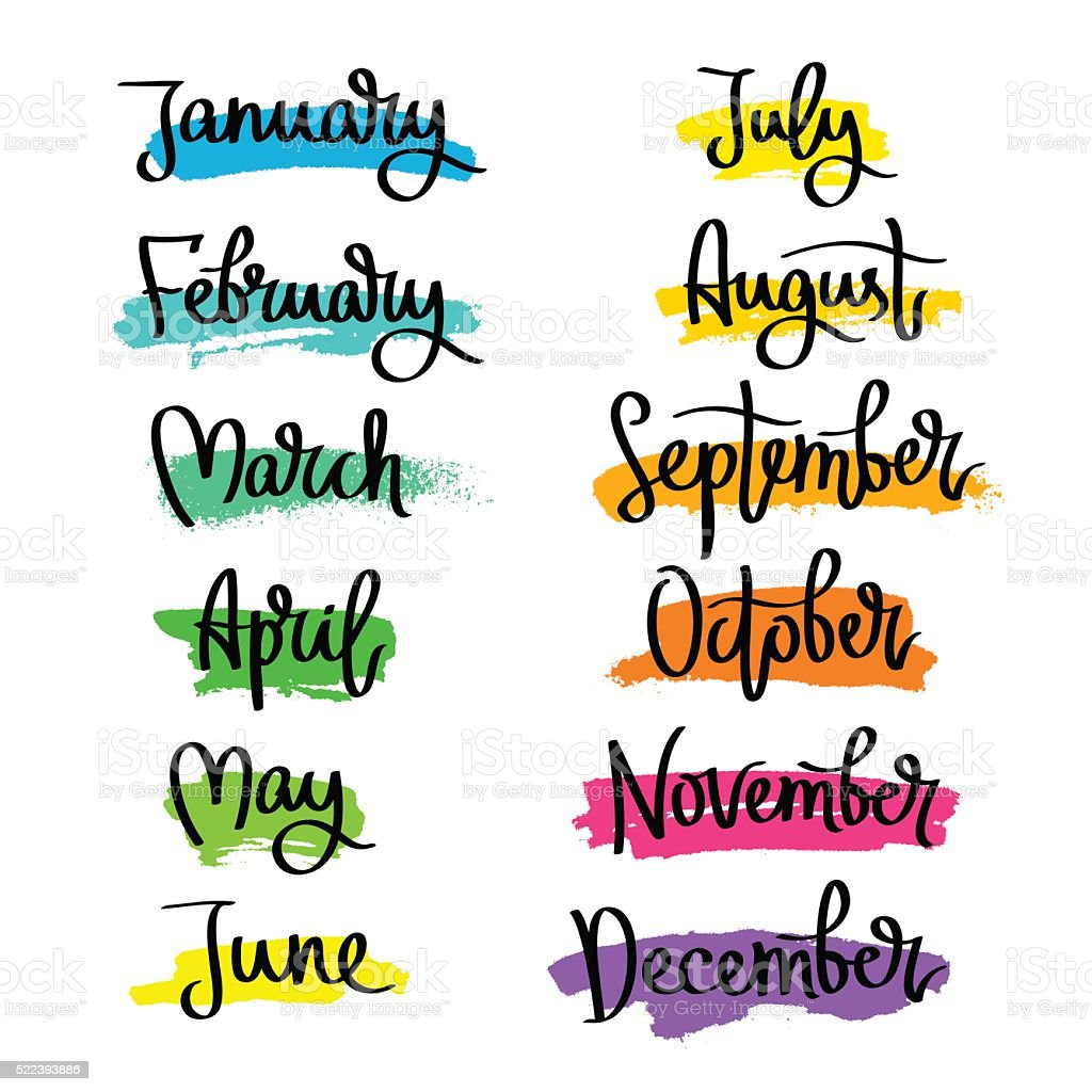 Set of labels of the months of the year. vector art illustration