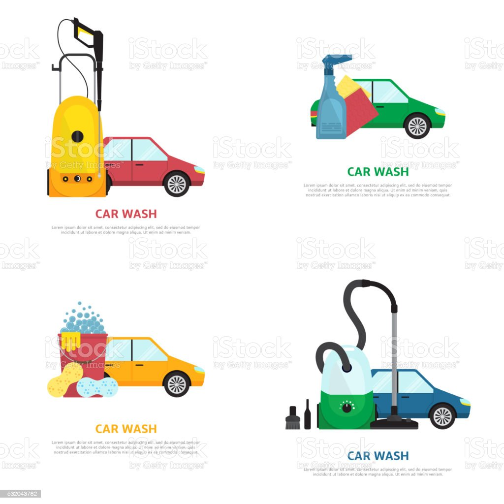 Set of labels on car wash theme in flat style royalty-free stock vector art