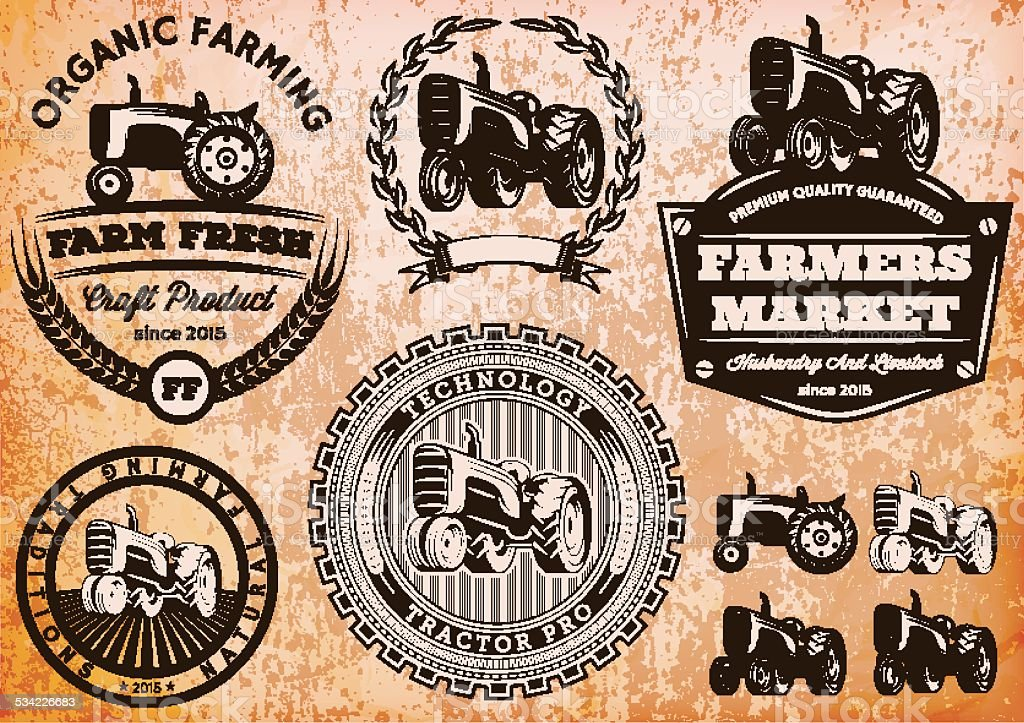 set of labels with a tractor for livestock and crop vector art illustration