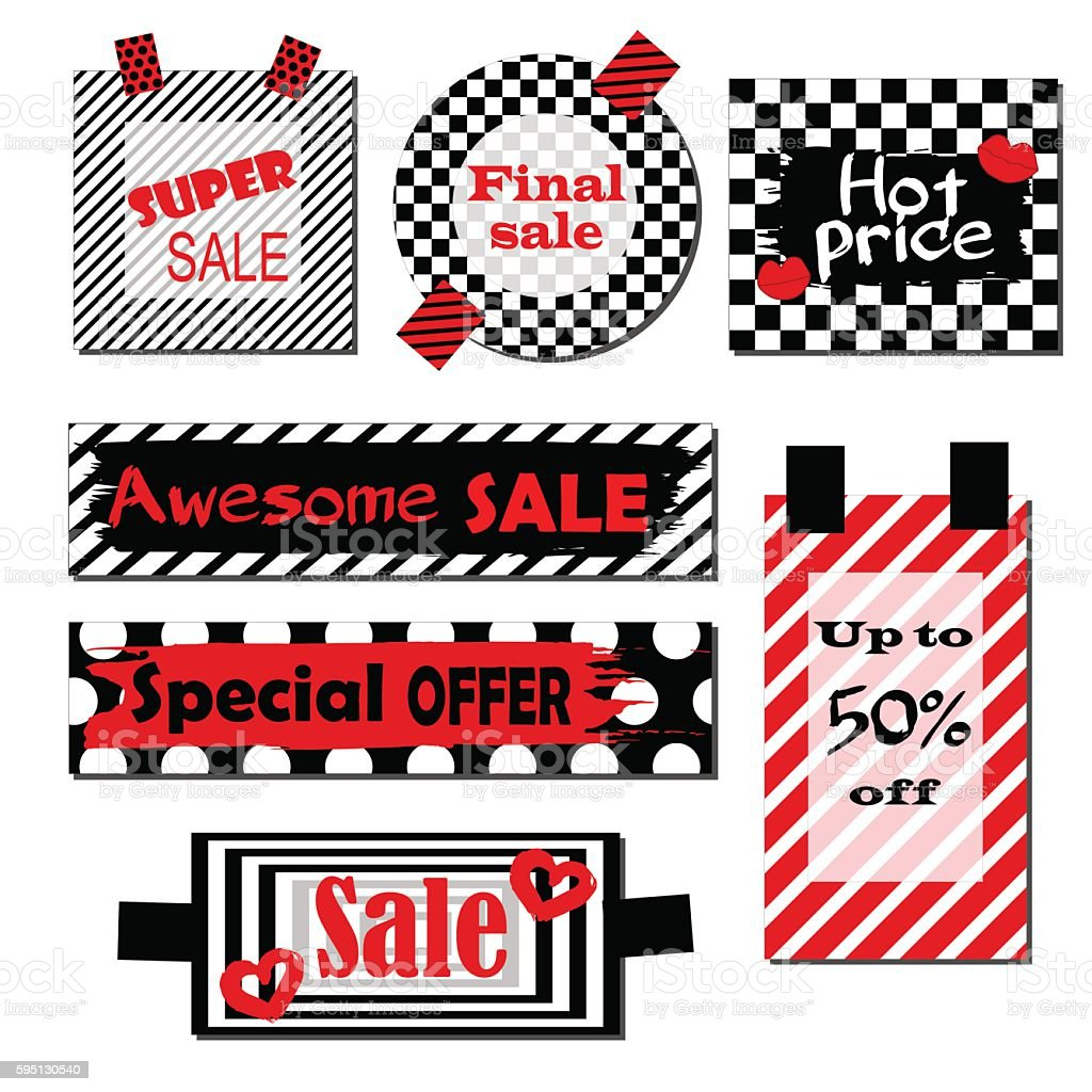 Set of labels with black and white background  red elements vector art illustration