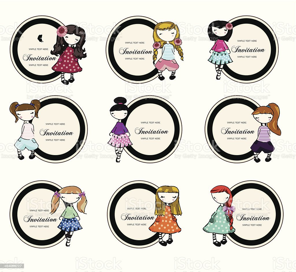 set of labels with cute little girls royalty-free stock vector art