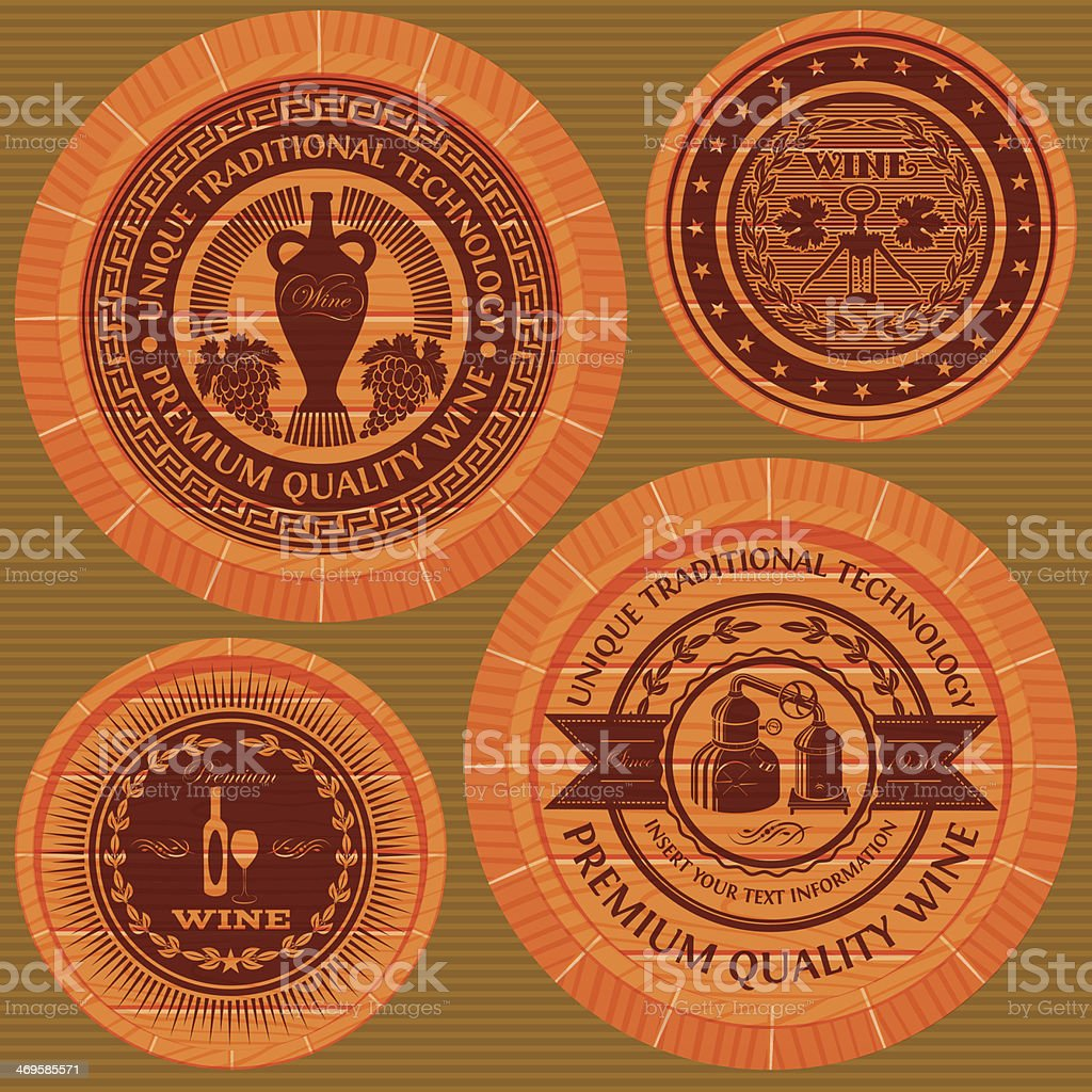set of labels with wine on wooden casks royalty-free stock vector art