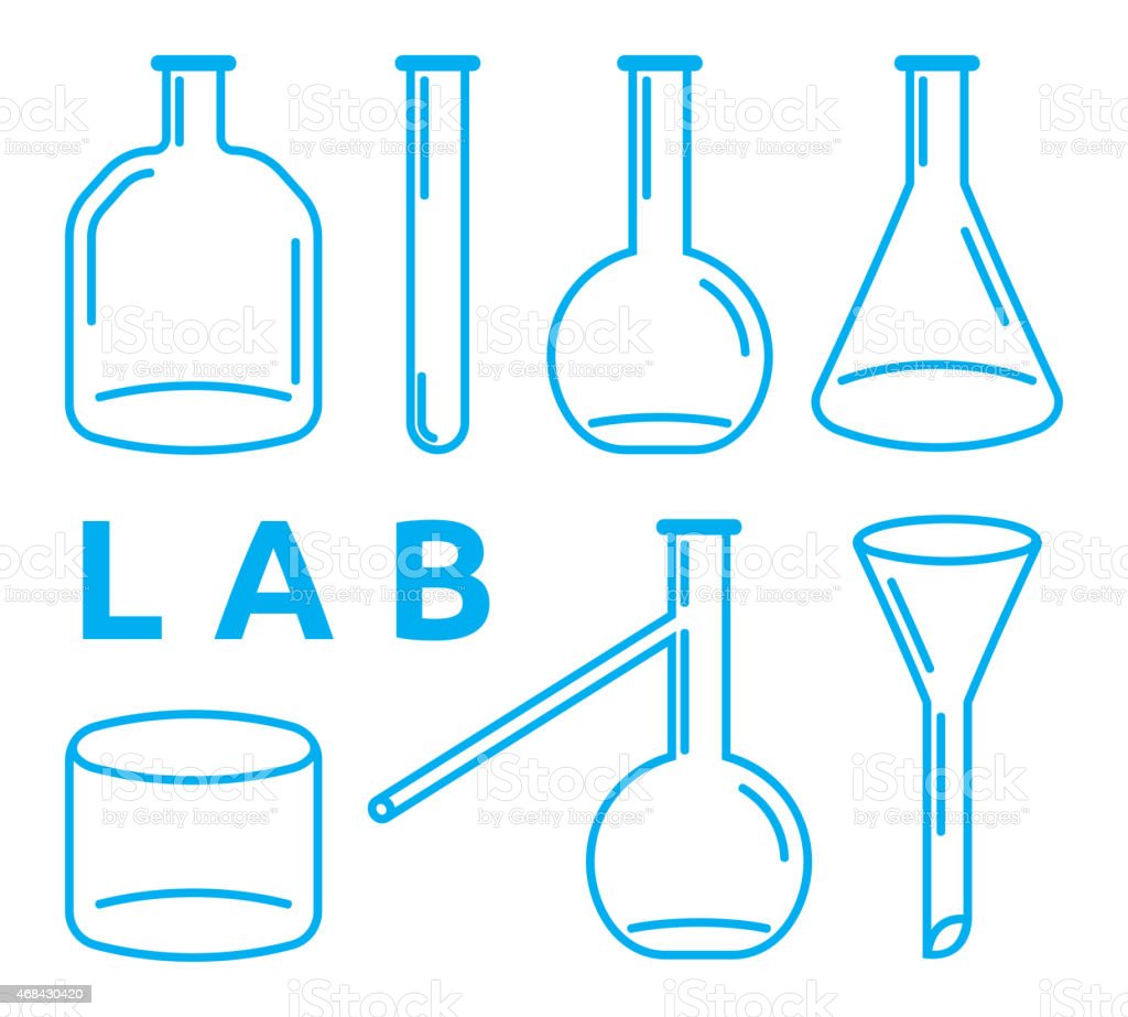 set of laboratory equipment vector art illustration