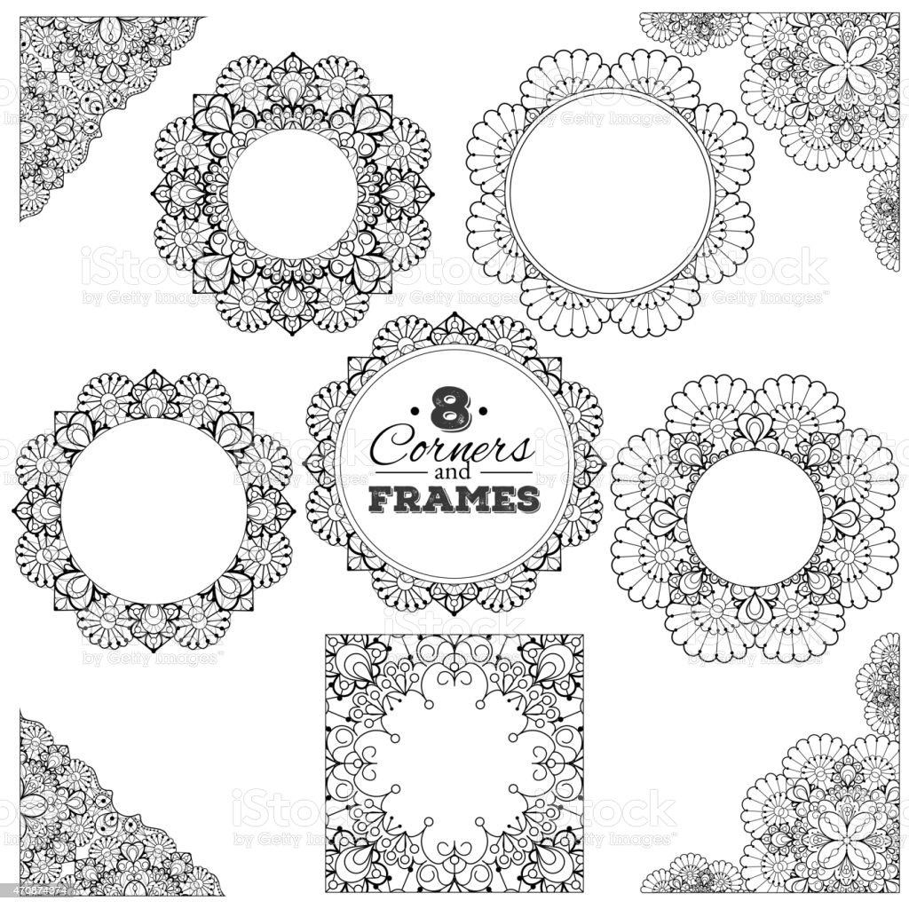 Set of lace frames and corners with transparent background vector art illustration
