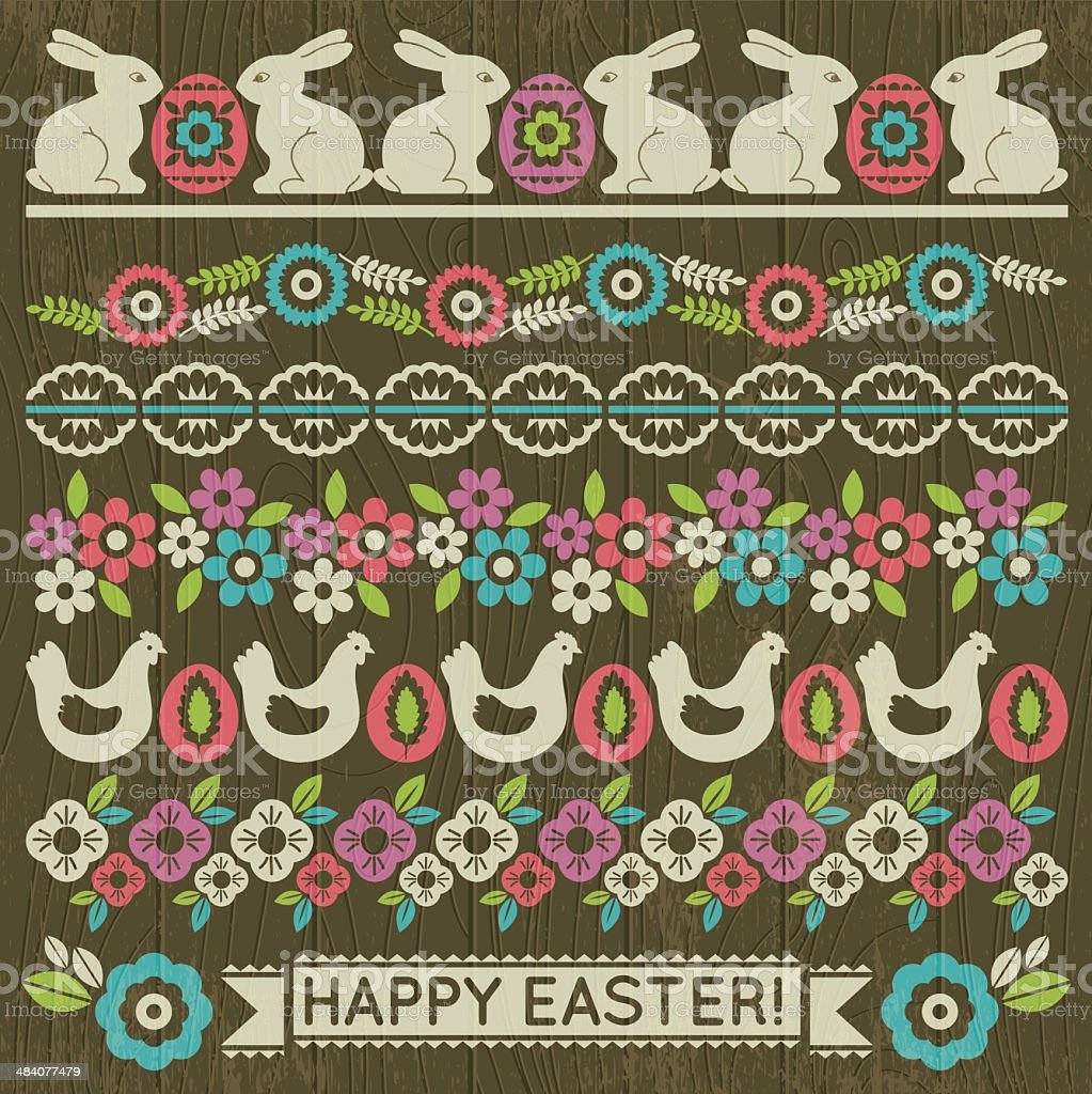 Set of Lace Paper with flower and easter eggs vector art illustration