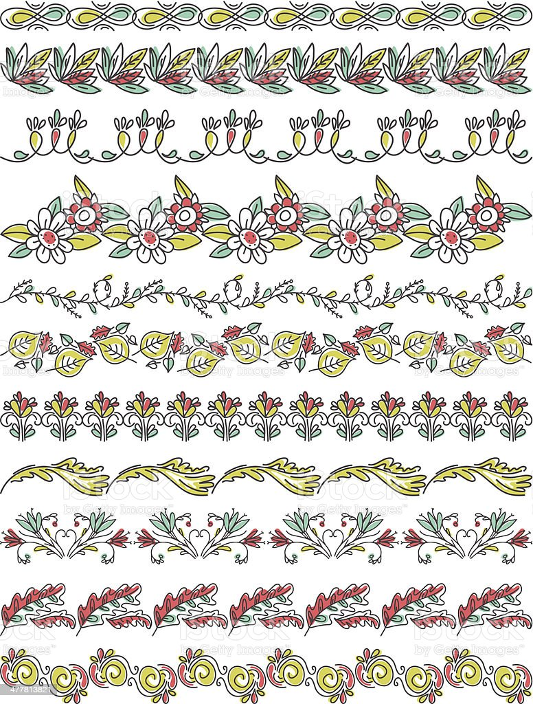 Set of Lace Paper with flower and leafs royalty-free stock vector art