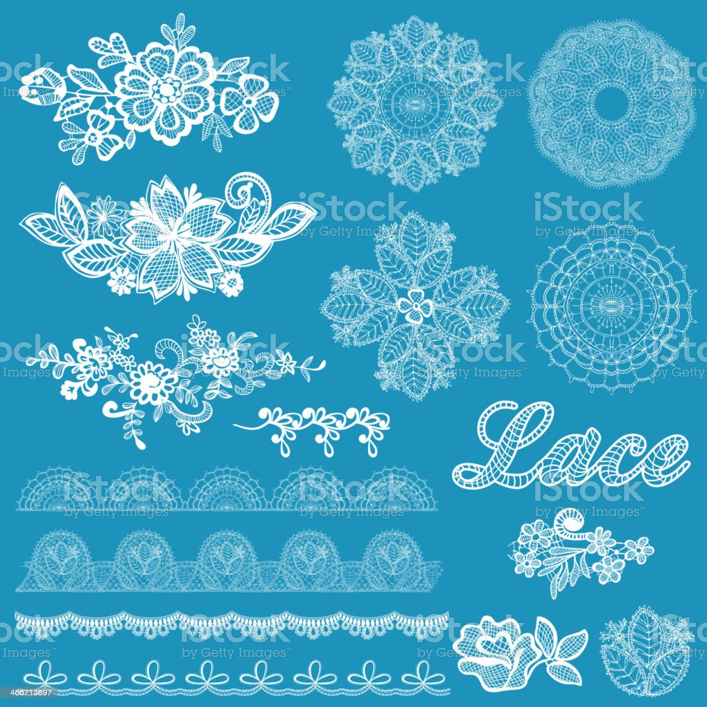 Set of lace, ribbons, flowers vector art illustration