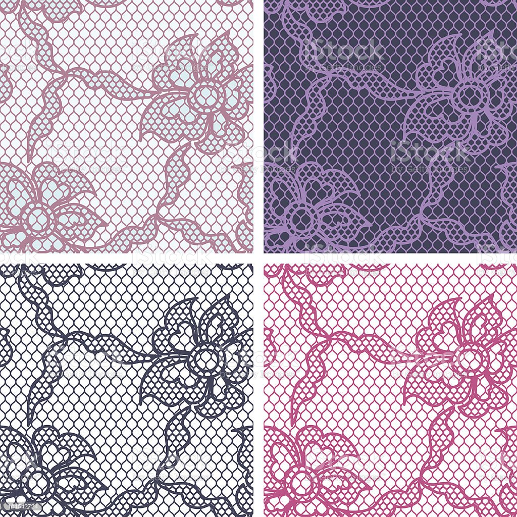 Set of lace seamless patterns with abstract flowers. royalty-free stock vector art