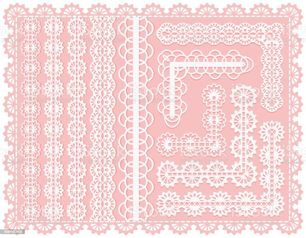 Set of lace seamless ribbons or brushes for design and decoration of invitations and cards. Delicate vintage weave of white threads. vector art illustration