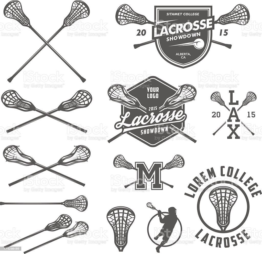 Set of lacrosse design elements vector art illustration