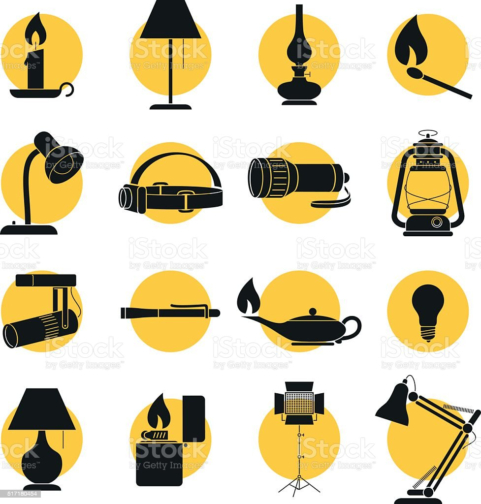 Set of Lamp Sihouettes vector art illustration